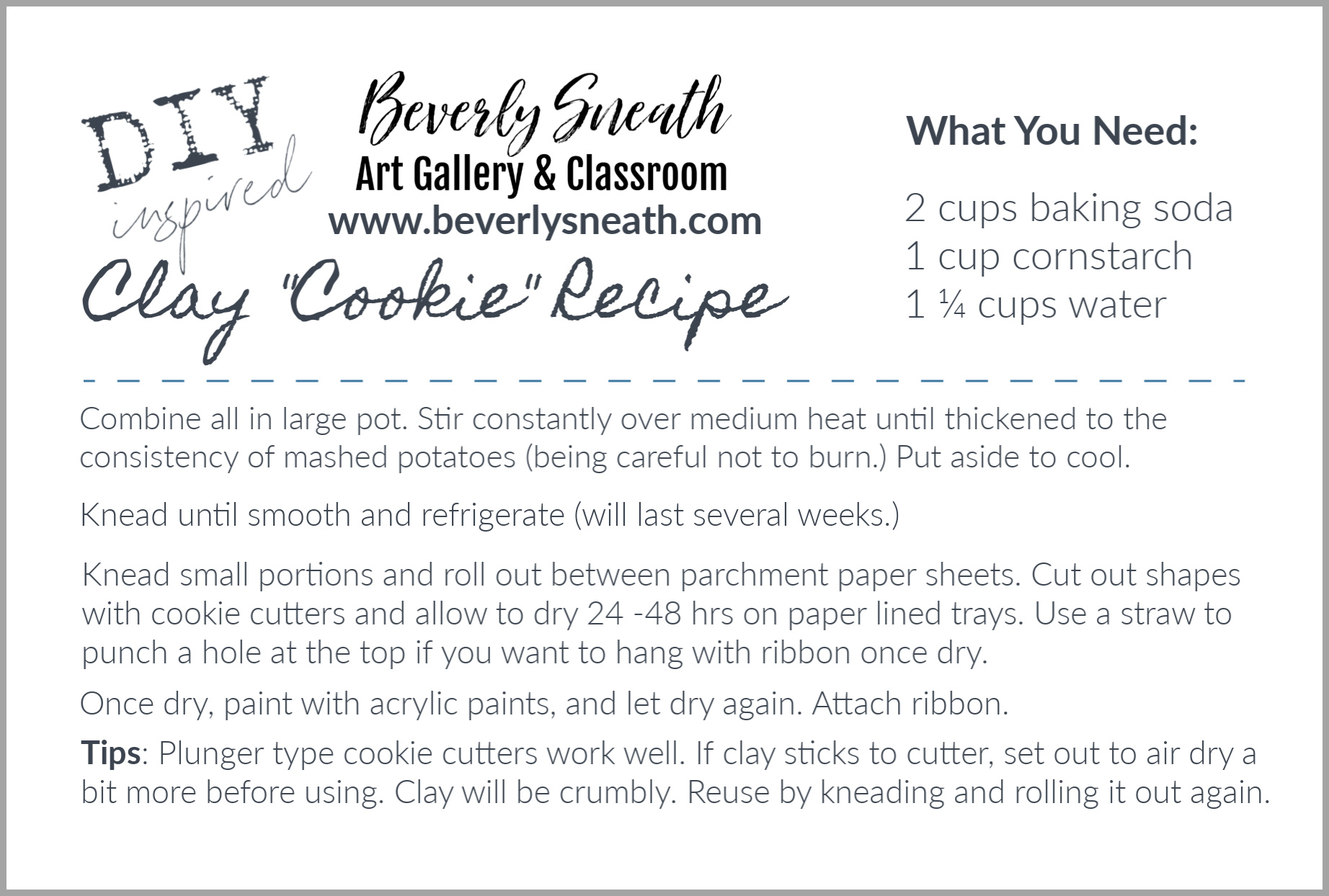 Clay Cookie Recipe Card 4 x 6 inch printable